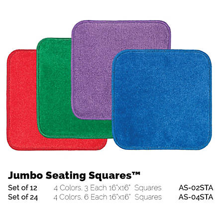 "Flagship Carpets Jumbo Seating Squares, 16"" x 16"", Multicolor, Set Of 12"