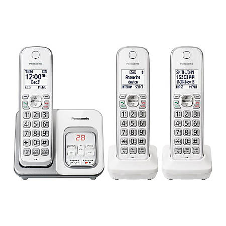 Panasonic® DECT 6.0 Cordless Telephone With Answering Machine, 3 Handsets, KX-TGD533W