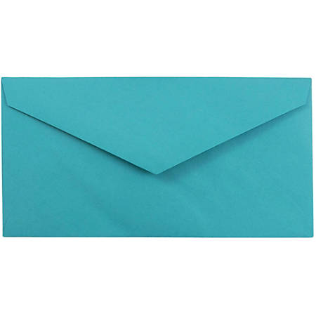 "JAM Paper® Booklet Envelopes, #7 3/4 Monarch, Straight Flap, 3 7/8"" x 7 1/2"", 30% Recycled, Sea Blue, Pack Of 25"
