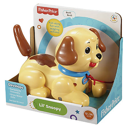 Fisher-Price Lil' Snoopy - Pull Puppy Along for Sounds and Motions - Ears Wiggle - Tail Shakes and Puppy Bbarks