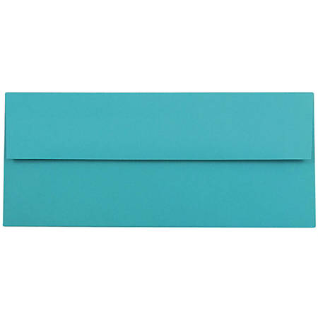 """JAM Paper® Booklet Envelopes With Gummed Closure (Recycled), #10, 4 1/8"""" x 9 1/2"""", 30% Recycled, Sea Blue, Pack Of 25"""