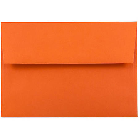 "JAM Paper® Booklet Invitation Envelopes (Recycled), A6, 4 3/4"" x 6 1/2"", 30% Recycled, Orange, Pack Of 25"