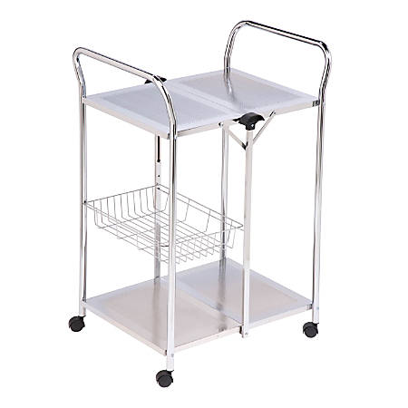 """Honey-can-do CRT-01703 Folding Utility Table, Chrome - Rectangle Top - 20"""" Table Top Length x 25.50"""" Table Top Width - 38.50"""" Height - Assembly Required - Chrome, Chrome Plated - Steel"""