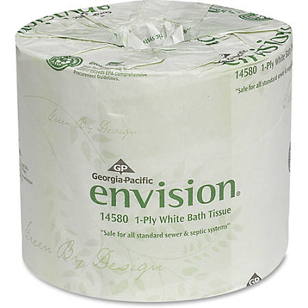 "Envision Economical 1P Bath Tissue - 1 Ply - 4"" x 4.05"" - White - Chlorine-free, Strong, Absorbent, Eco-friendly - For Bathroom, Educational Facilities - 1210 - 80 / Carton"
