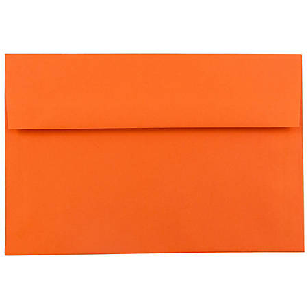 """JAM Paper® Booklet Invitation Envelopes, A7, 5 1/4"""" x 7 1/4"""", 30% Recycled, Orange, Pack Of 25"""