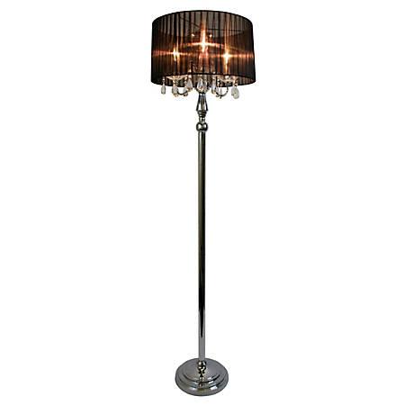 "Elegant Designs Sheer Shade Floor Lamp, 61 1/2"", Black Shade/Chrome Base"