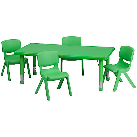 """Flash Furniture Rectangular Plastic Height-Adjustable Activity Table with 4 Chairs, 23-3/4""""H x 24""""W x 48""""D, Green"""