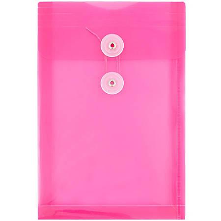 "JAM Paper® Open-End Plastic Envelopes, 6 1/4"" x 9 1/4"", Fuchsia Pink, Pack Of 12"