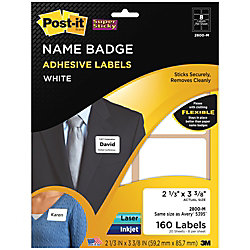 post it super sticky name badge labels 2 13 x 3 38 white pack of 160