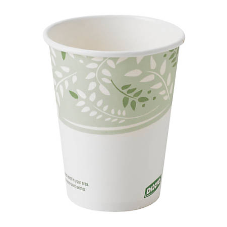 Dixie® PLA Paper Hot Cup, 8 Oz, White/Green, 50 Cups Per Sleeve