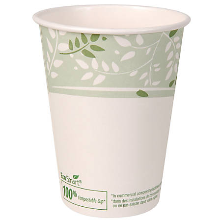 Dixie® PLA Paper Hot Cup, 12 Oz, White/Green, 50 Cups Per Sleeve
