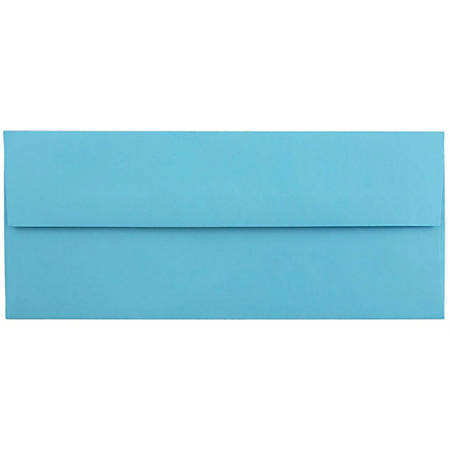"""JAM Paper® Booklet Envelopes With Gummed Closure (Recycled), #10, 4 1/8"""" x 9 1/2"""", 30% Recycled, Blue, Pack Of 25"""