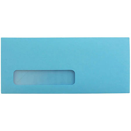 """JAM Paper® Single-Window Booklet Envelopes With Gummed Closure, #10, 4 1/8"""" x 9 1/2"""", 30% Recycled, Brite Hue Blue, Pack Of 25"""