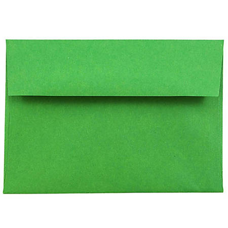 """JAM Paper® Booklet Envelopes With Gummed Closure (Recycled), 4 Bar A1, 3 5/8"""" x 5 1/8"""", 30% Recycled, Green, Pack Of 25"""