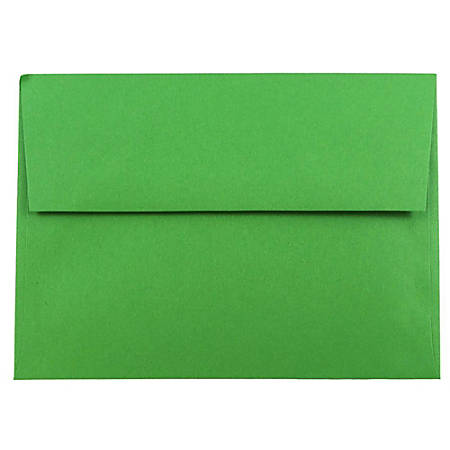 """JAM Paper® Booklet Invitation Envelopes, A7, 5 1/4"""" x 7 1/4"""", 30% Recycled, Green, Pack Of 25"""