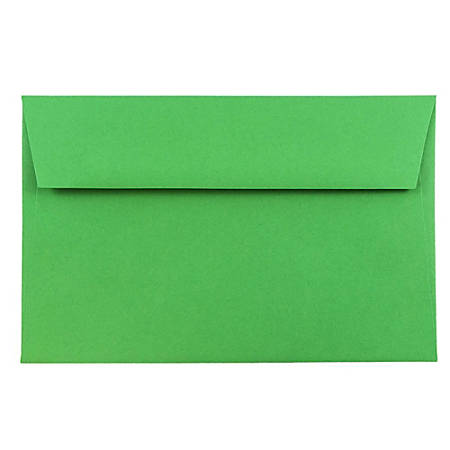 """JAM Paper® Booklet Invitation Envelopes, A9, 5 3/4"""" x 8 3/4"""", 30% Recycled, Green, Pack Of 25"""