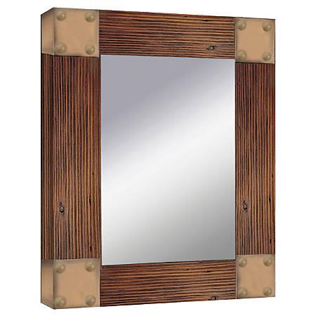 "PTM Images Framed Mirror, Accent, Corner Tacks, 20""H x 16""W, Natural Wood"