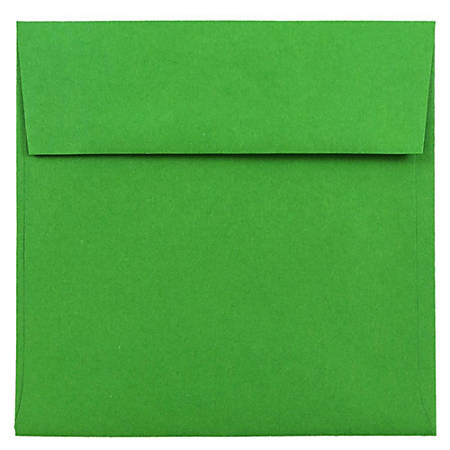 "JAM Paper® Color Square Invitation Envelopes, 6"" x 6"", 30% Recycled, Green, Pack Of 25"