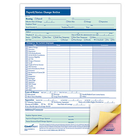 """ComplyRight Payroll/Status Change Notices, 3-Part, 8 1/2"""" x 11"""", Pack Of 50"""