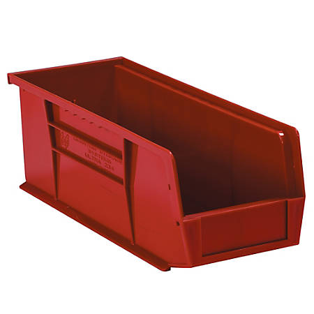 """Office Depot® Brand Plastic Stack And Hang Bin Boxes, 10 7/8"""" x 4 1/8"""" x 4"""", Red, Pack Of 12"""