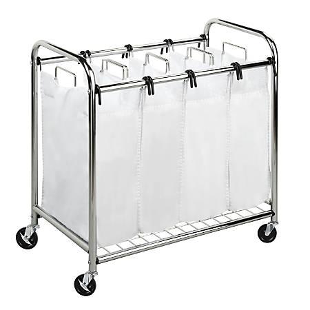 Honey-Can-Do Heavy-Duty Quad Laundry Sorter, Chrome/White