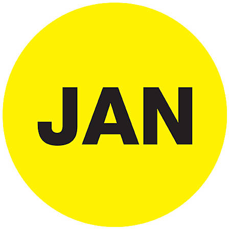 "Tape Logic® Yellow - ""JAN"" Months of the Year Labels 1"", DL6723, Roll of 500"