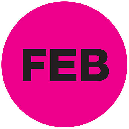 "Tape Logic® Pink - ""FEB"" Months of the Year Labels 1"", DL6724, Roll of 500"