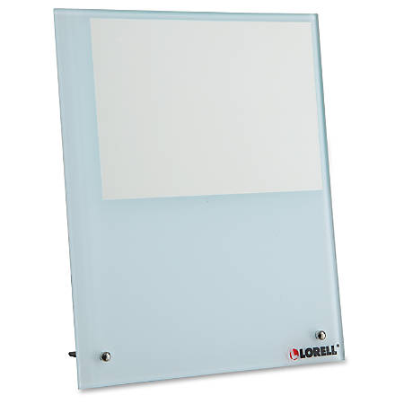 "Lorell Glass Photo Board - 8.25"" x 10"" Frame Size - Holds 5"" x 7"" Insert - Desktop, Tabletop - Vertical - Stain Resistant - 1 Each - Tempered Glass, Metal - White"