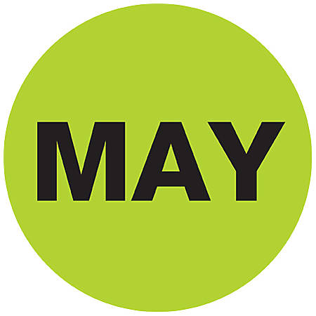 "Tape Logic® Green - ""MAY"" Months of the Year Labels 1"", DL6727, Roll of 500"
