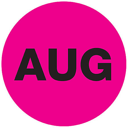 """Tape Logic® Pink - """"AUG"""" Months of the Year Labels 1"""", DL6730, Roll of 500"""