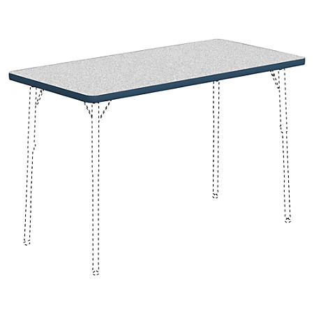 "Lorell® Classroom Rectangular Activity Table Top, 48""W x 24""D, Gray Nebula/Navy"