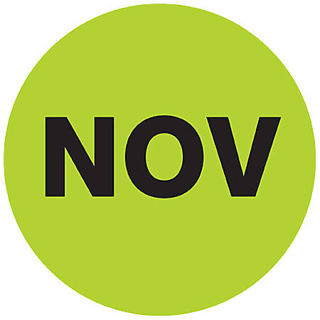 "Tape Logic® Green - ""NOV"" Months of the Year Labels 1"", DL6733, Roll of 500"