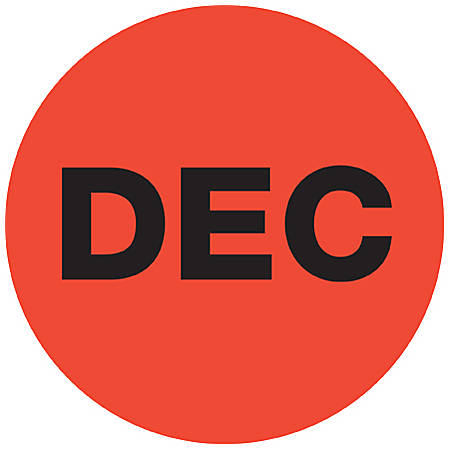 "Tape Logic® Red - ""DEC"" Months of the Year Labels 1"", DL6734, Roll of 500"