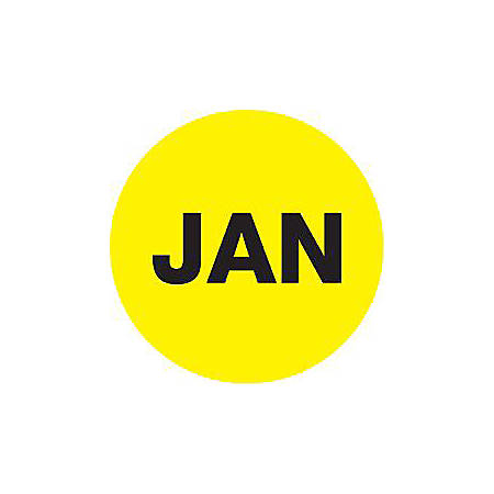 """Tape Logic® Yellow - """"JAN"""" Months of the Year Labels 2"""", DL6735, Roll of 500"""