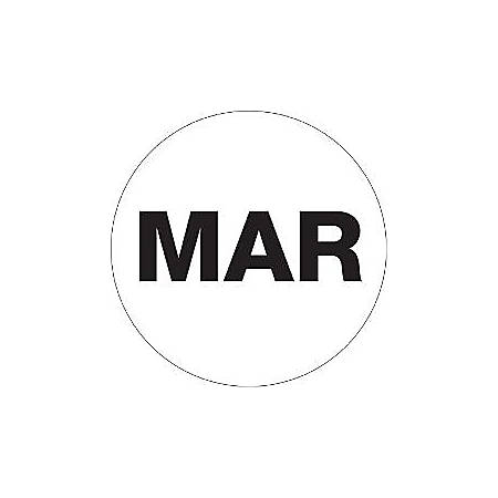 "Tape Logic® White - ""MAR"" Months of the Year Labels 2"", DL6737, Roll of 500"