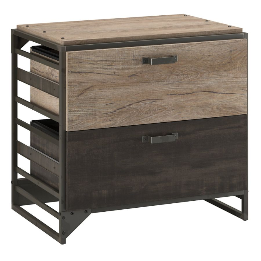 Bush Furniture Refinery Lateral File Cabinet Rustic GrayCharred Wood  Standard Delivery By Office Depot U0026 OfficeMax