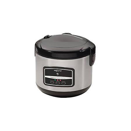 Presto® 16-Cup Digital Stainless Steel Rice Cooker/Steamer, Silver/Black