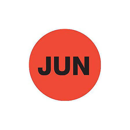 """Tape Logic® Red - """"JUN"""" Months of the Year Labels 2"""", DL6740, Roll of 500"""