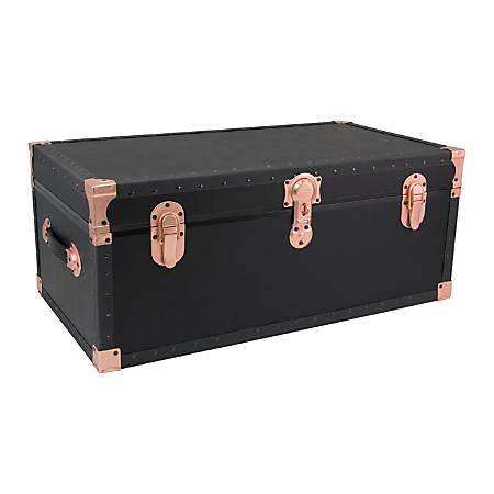 "Advantus Stackable Footlocker Trunk With Wheels, 17"" x 31"" x 12-3/4"", Black/Rose Gold"