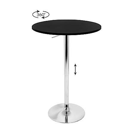 LumiSource Adjustable Bar Table, Silver/Black