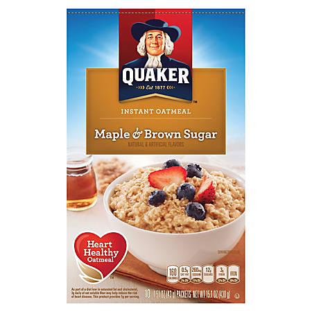 Quaker® Instant Oatmeal, Maple Brown Sugar, 1.5 Oz, Box Of 10