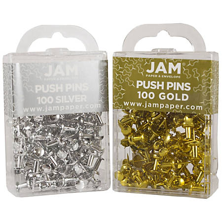 JAM Paper® Colorful Push Pins, Gold and Silver, 2 Packs Of 100 Push Pins