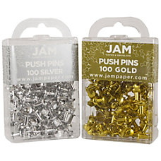 JAM Paper Colorful Push Pins Gold
