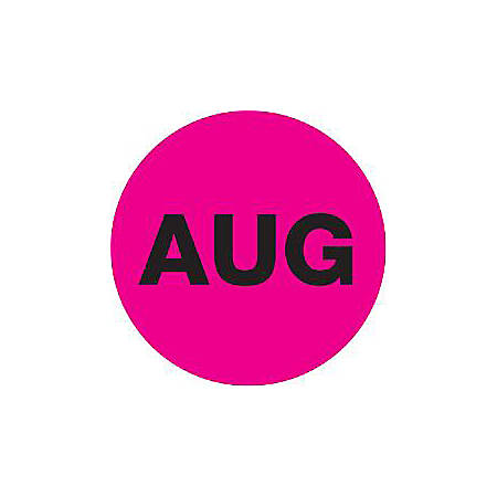 """Tape Logic® Pink - """"AUG"""" Months of the Year Labels 2"""", DL6744, Roll of 500"""