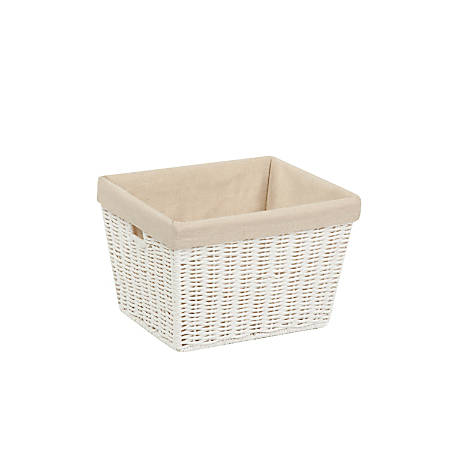 "Honey-Can-Do Paper Rope Storage Tote With Liner, 10"" x 12"" x 8"", White"