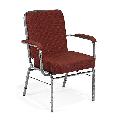 OFM Big And Tall Comfort Class Series Arm Chairs, Burgundy Pinpoint/Silver, Set Of 4