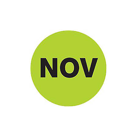 "Tape Logic® Green - ""NOV"" Months of the Year Labels 2"", DL6747, Roll of 500"