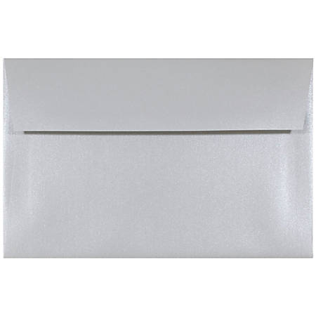 "JAM Paper® Booklet Invitation Envelopes, A9, 5 3/4"" x 8 3/4"", Pearlized Elegance Metallic Silver, Pack Of 25"