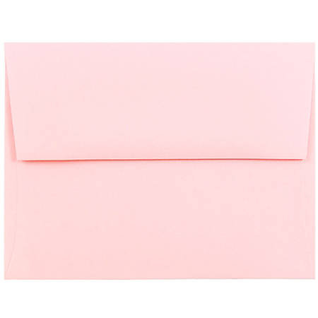 "JAM Paper® Booklet Invitation Envelopes, A2, 4 3/8"" x 5 3/4"", Baby Pink, Pack Of 25"