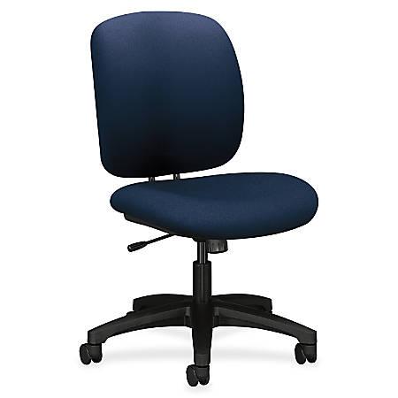 "HON ComforTask Chair, Navy Fabric - Polymer Navy, Olefin Seat - Polymer Navy, Olefin Back - 5-star Base - 20"" Seat Width x 18"" Seat Depth - 23"" Width x 27.8"" Depth x 39.8"" Height"